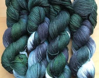 STOOAK #6 - Hand dyed yarn on sparkle sock