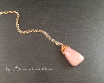 Rose Quartz rose gold chain