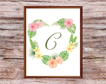 "Monogram printable art, Letter C, Printable wall art, ""C"" Monogram initial, Watercolor floral, Floral wreath with ""C"", Nursery art, Home art"