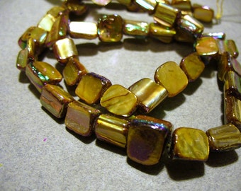 Mother of Pearl Nuggets Tan AB 8mm