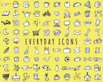 Everyday Items Clipart Set [Black & White Version] - clipart for planner stickers, chores clip art, printable stickers, everyday objects