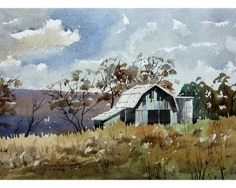 Original Watercolor, Blue Barn