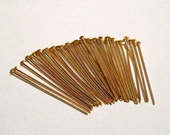 """Gold Plated Headpins - 1"""" - 24g - (36)"""