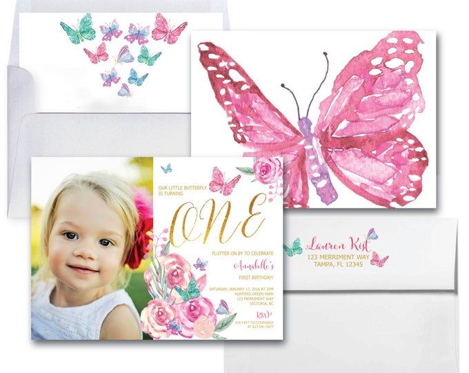 Butterfly First Birthday Invitation // Photo // 1st Birthday Invitation // Butterfly // Floral // Watercolor // VICTORIA COLLECTION