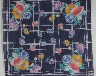 Navy Blue Hankie Plaid Floral Print Handkerchief