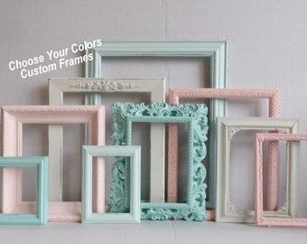 PICTURE FRAMES Custom - Choose Your Colors Custom Frame Collection - Ornate Distressed Frames - Gallery Wall - Wedding - Nursery Frame Set