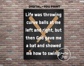Baseball Signs,  Christian Sports Art, DIGITAL, YOU PRINT, Inspirational Sports Art, Christian Baseball Art, Christian Baseball Poster