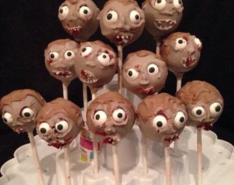 12 Zombies cake pops, Walking Dead, Halloween
