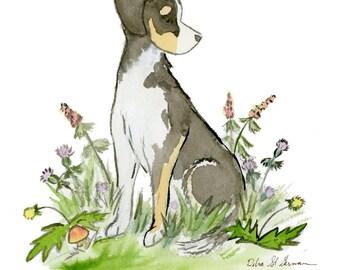 Mixed Breed Dog Art, Mutt Art, Dog Nursery Print, Hound Mix, Husky Mix, Nursery Art, Children's Wall Art, Nursery Decor, Watercolor Dog Art