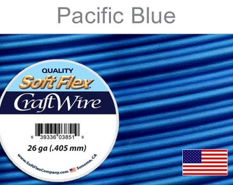 26 Gauge Pacific Blue Silver Plated Wire, Soft Flex, Round, Non-Tarnish, Supplies, Findings, Craft Wire
