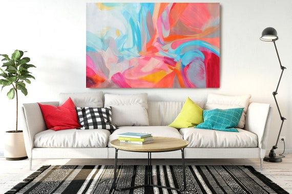 """Balance of Independence, Abstract Painting Modern Wall Art Painting Canvas Art Print Art Modern Pink Blue Red up to 80"""" by Irena Orlov"""