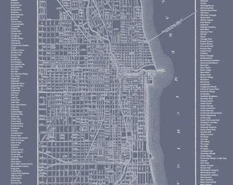 Chicago Neighborhood Map Medium Gray Print Poster