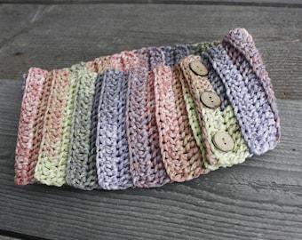 Crochet button earwarmer Adjustable headband womens Extra wide spring headband Hippie rainbow dreadlock headband Cotton teenage earwarmer