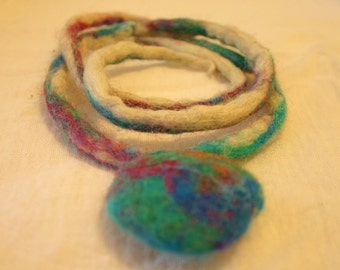 Felted Abstract Earth Pendant MultiColored Handmade 30inch