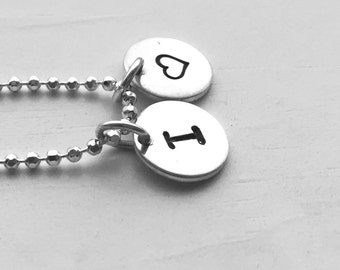 Heart Necklace with Initial Charm, Initial Jewelry, Sterling Silver, Personalized Jewelry, Letter I Necklace, All Letters Available