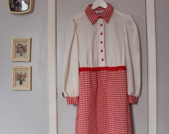 1960s long sleeve white and red gingham dress