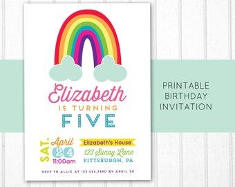 Rainbow Birthday Invitation - Rainbow Invitation - Printable Invite