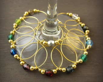 12 crystal wine Charms | gift box | gold wine glass charms - wine accessories - wine housewarming gift - wine hostess gift - wine GPC12-1