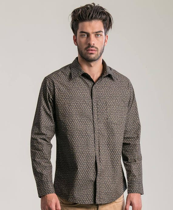 Long Sleeve Grey Button Down Shirt For Men, Button Up Shirt, Sacred Geometry, Flower Of Life Shirt, Mens Fashion, Gift For Him