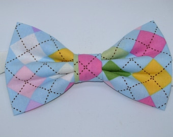 Easter Argyle Pre-tied Bow Tie | Argyle bow ties | Blue bow ties | Pink Argyle ties | Wedding bow ties | Ties for boys & men | Pastel Colors
