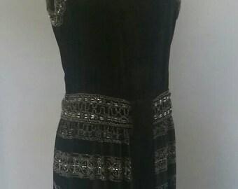 Black Velvet Beaded 20s Evening Dress