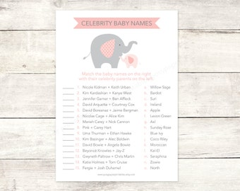 celebrity baby names matching game card printable elephant baby girl shower DIY pink grey baby shower digital games - INSTANT DOWNLOAD