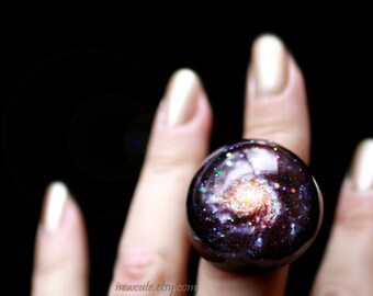 Pinwheel Galaxy M101 Fashion Statement Glitter Hubble Photo Stardust Ring Modern Resin Jewelry Giant Dome Resin Fashion Ring by isewcute