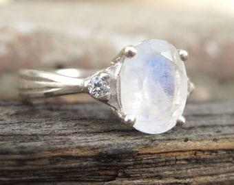 Moonstone Antique Engagement Ring, Antique Moonstone Ring, Vintage Moonstone Ring, Vintage Oval Engagement Ring, Antique Style, Promise Ring