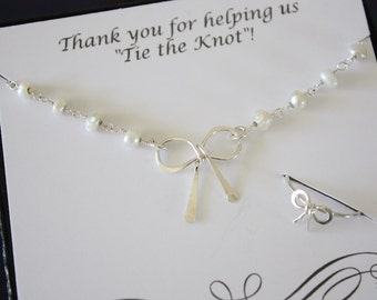 6 Bridesmaid Gifts Bow Necklace and Ring Set Sterling Silver, Tie the Knot Pearl Necklace, Thank you card, Bow Ring, Mother in law gift