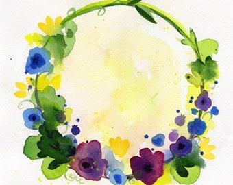 "Purple Yellow Blue flower Wreath watercolor original painting art 8""x8"""