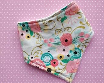 Cotton or bamboo bandana dribble bib (choose backing fabric) - minty floral