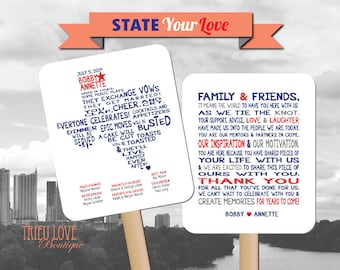 Personalized American State Shape | Hometown | Destination | Country  Wedding Ceremony Program Fan - Digital File