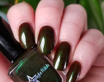 Unicorn Dravite Brown Duochrome Color Shifting Green to Blue Indie Nail Lacquer Starlight Polish Liquid Euphoria