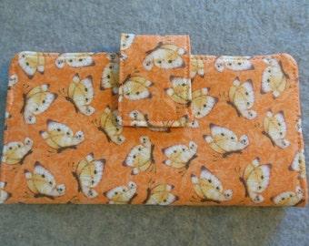 Fabric Wallet - Butterflies on Peach Background