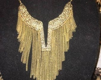 Goldtone Statement Fringed Necklace