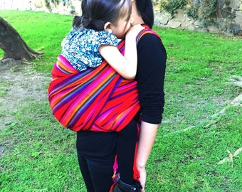Baby Wrap Carrier  Mexican Senka Red w rainbow stripes Wrap available  in 3,5 and 5,5 yards