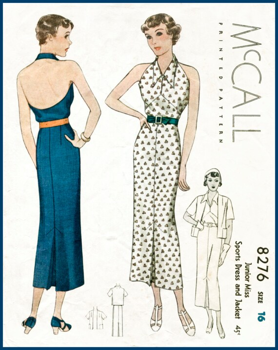 30s 1930s repro vintage women\'s sewing pattern halter neck