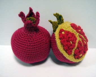 Fruit Crochet Pattern Pomegranate Crochet Pattern PDF Instant Download Crochet Food Pattern Pomegranate (Fruit - whole and cut)