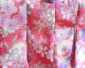 Mini Kimono - Peach Pink cherry blossoms and balloon flower