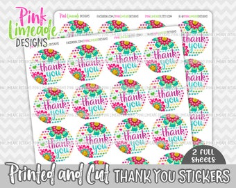 "Colorful Flowers ""Thank You"" Stickers - 2 sheets 1 or 1.5 inch stickers - printed stickers for your business or event - GLOSSY - ty008"