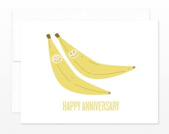 Funny Anniversary Card - Bananas Anniversary Greeting Card - Cute Anniversary Card - Card for Husband, Card for Wife, Congratulations Card