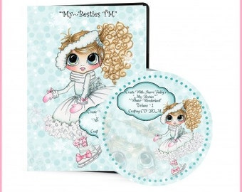 Winter Wonderland VOL 1 CD ROM Digital Digi Stamps Color images Card toppers Papers 100s of Images Big Eyed Art My Bestie  By Sherri Baldy