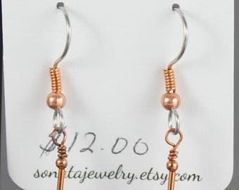 Czech glass  turquoise and copper earrings