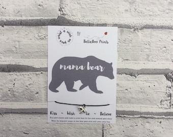Mama Bear Wish Bracelet ~ Bear Charm Bracelet ~ Baby Shower Gift ~ Wish String ~ New Mum Wish Bracelet ~ New Mum Gift