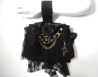 SALE Embellished Black Handbag,  Black Velvet Evening Bag, Decorated Restyled Purse, Bohemian Fancy Black Purse, Black Lace Purse