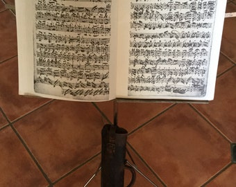 Victorian folding music stand with original leather case