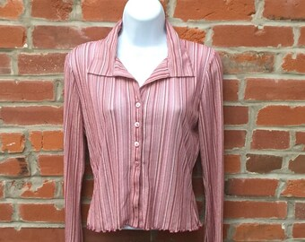 Vintage 90s Sheer Pink Striped Button Down Shirt Ruffle Edges Womens