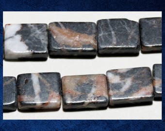 """Marble, Red and Black - 14"""" strand of 12x18mm flat rectangle natural stone beads. #MARB-013"""