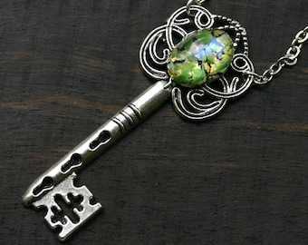 Peridot Necklace - Skeleton Key