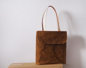 Sale waxed canvas tote bag with front flap and tan leather handles